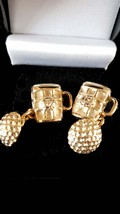 9k gold 19th hole design, ball and beer design on chain cufflinks rare last pair