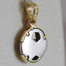 SOLID 18K WHITE & YELLOW GOLD SOCCER BALL PENDANT, SATIN CHARMS, MADE IN ITALY image 3