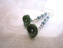 Handmade Turquoise Blue Czech Picasso Glass Flower Silver Tone Dangle Ea... - $8.08