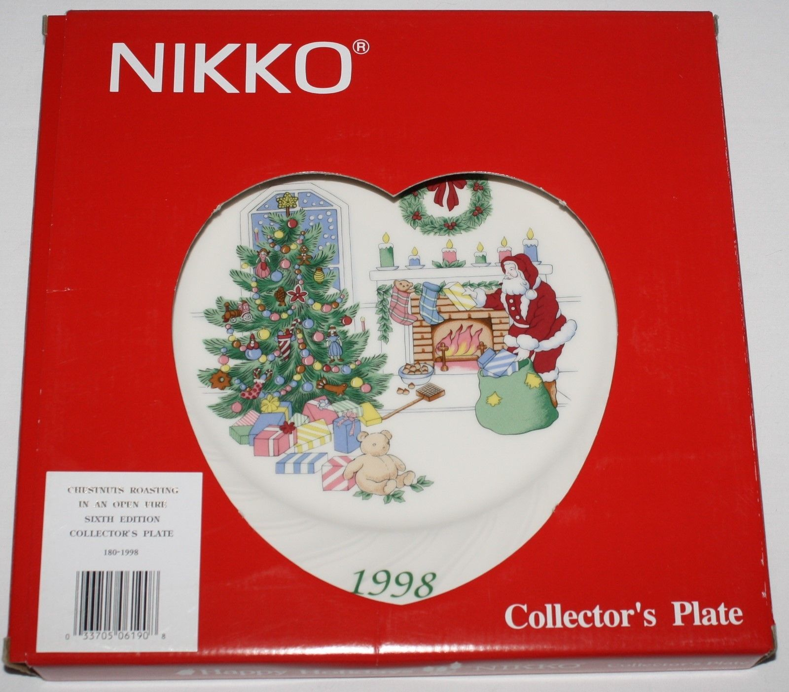 Nikko Happy Holidays 1998 Christmas Collector Plate Chestnuts Roasting with Box