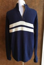 Polo Ralph Lauren 1/4 Zip Navy White Striped Sweater Large - $14.85