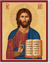 "Cretan-Style Christ the Teacher Icon 11"" x 14"" Wooden Plaques With Lumin... - $75.95"