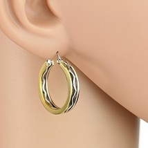 Edgy Tri-Color Silver, Gold & Rose Tone Hoop Earrings- United Elegance image 1