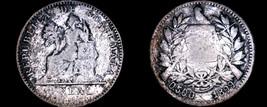 1899 Guatemalan 1 Real World Silver Coin - Guatemala - .500/.550 KM-174a - $10.75