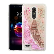 Eiffel Tower & Pink Hearts Quicksand Glitter Hybrid Cover for LG K30/Pre... - $11.07