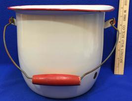 "Enamel Pail Bucket Wooden Grip Handle White & Red Trim Vintage 11"" Ename... - $31.67"