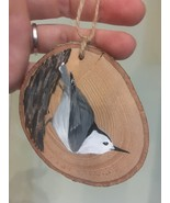 White-Breasted Nuthatch  wood slice ornament - $15.00