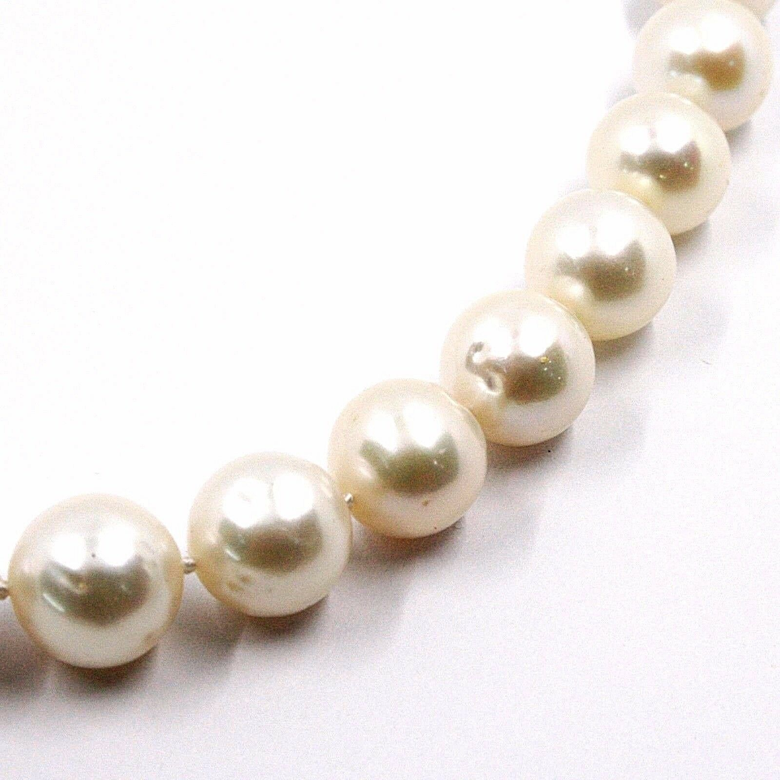 COLLIER OR BLANC 18K, ZIRCONIA, PERLES GRAND 12 MM, BLANCHE, D'EAU DOUCE