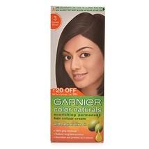Garnier Color Naturals Permanent Hair Colour Cream - Darkest Brown 3 40g - $7.98