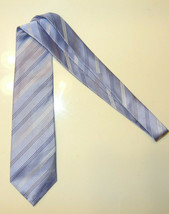 Kenneth Cole Reaction Men's Tie 100% Silk Necktie Striped BLUE White MT3... - $4.99