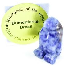 Dumortierite Gemstone Tiny Miniature Penguin Stone Figurine Hand Carved China image 1