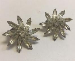 Vintage Signed Weiss Rhinestone Flower Clip Earrings Clear  - $24.13