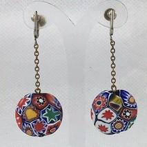 Vintage Millefiore Flower Pattern Glass Bead Earrings Screw Back Dangles - $31.96