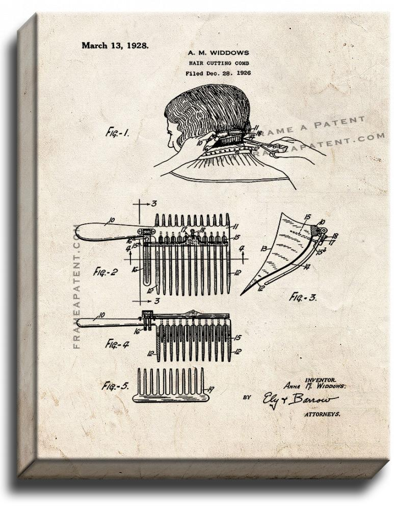 Primary image for Hair-cutting Comb Patent Print Old Look on Canvas