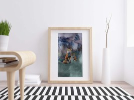 Printable Image, Two Foxes, Grey Background, Digital Download, Painting ... - $4.20