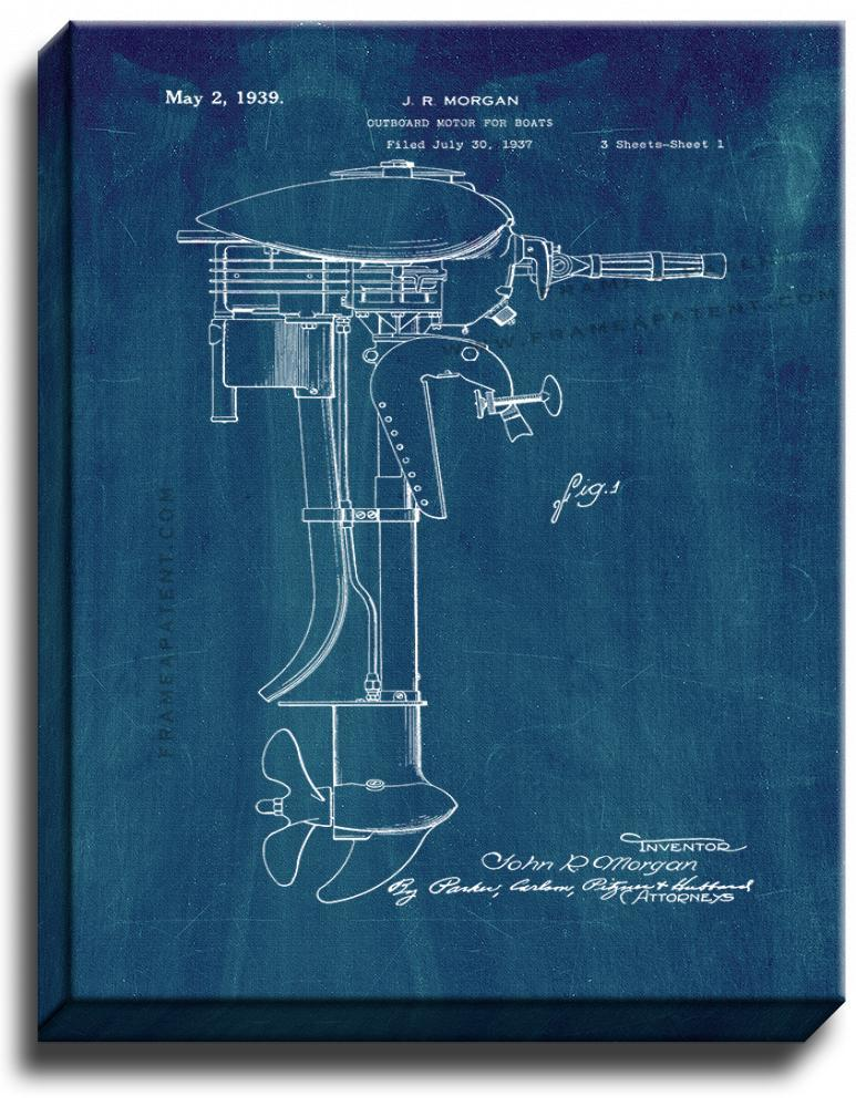 Primary image for Outboard Motor For Boats Patent Print Midnight Blue on Canvas