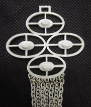 MODERNIST WHITE ENAMELED METAL ZIPPER PULL GEOMETRIC with DANGLING CHAIN... - $9.49
