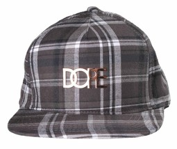 Dope Couture Patched Plaid Black/White Strapback Cap Fashion Hat One Size