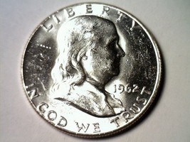 1962 FRANKLIN HALF DOLLAR CHOICE UNCIRCULATED CH.UNC NICE ORIGINAL COIN - $25.00