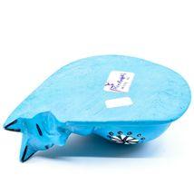 Tabaka Chigware Hand Carved Kisii Soapstone Blue Flower Sleeping Cat Figure image 6