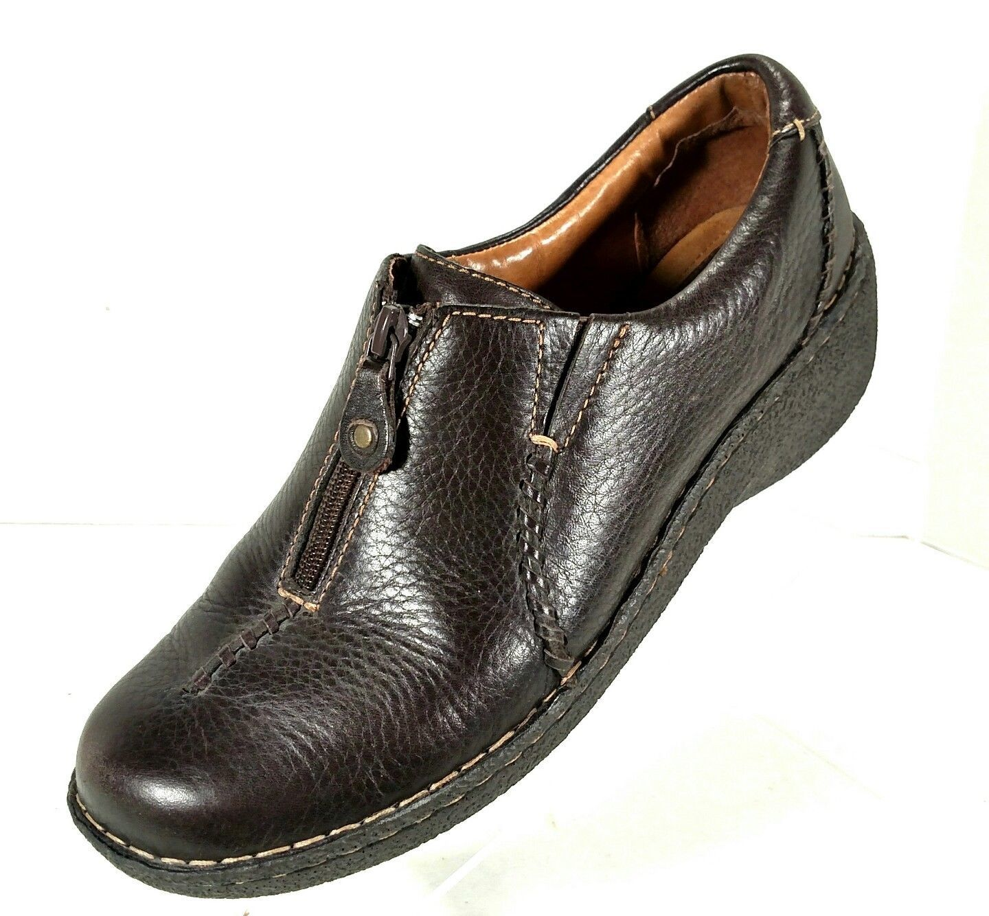 Clarks Artisan Inca Meg Slip On Shoes Loafers w/ Zipper Women's Size 9.5M Brown