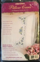 """Dimensions Stamped Embroidery Pillowcases """"Blue Flowers"""" #73203 - $14.99"""