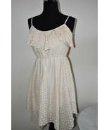 Ivory Lace Knee Length Sundress Summer Asymmetrical Hem Dress Size S Small - $14.43