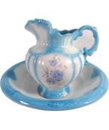 Vintage Large Arnels Porcelain Water Pitcher and Basin Blue White Floral - $178.87