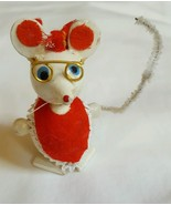 """White Red 2.25"""" Wood Mouse w Glasses & Apron Christmas Tree Ornament • v... - $13.06"""