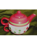 Tea for One Teapot Cup Set Christmas Polka Dots Pattern Red Green Stripe... - $17.82