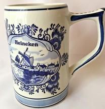 Vintage Blue Delft Advertisement Heineken Beer Stein Mug - $19.79
