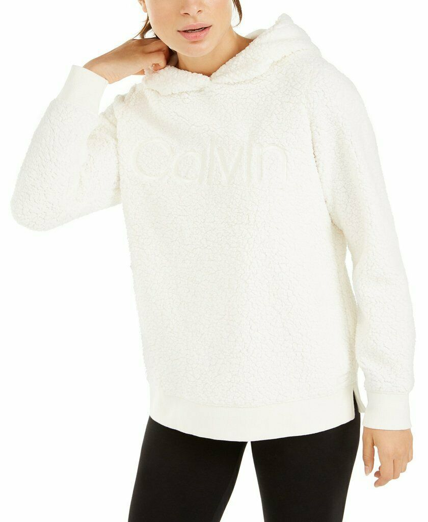 Primary image for Calvin Klein Performance Sherpa Logo Pullover Hoodie, Cloud, M