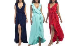 Women's Summer Sleeveless V-Neck Wrap Evening Gown Designer Maxi Dress - $39.99