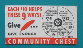COMMUNITY CHEST Charity Donate $10 - 1950s INK BLOTTER - $4.20