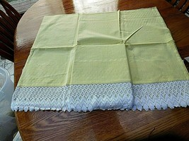 "2 PAIR KITCHEN CURTAIN YELLOW GINGHAM WHITE LACE TRIM 48"" L x 60"" W 100%... - $13.85"
