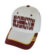 Washington Window Shade Font Men's Adjustable Baseball Cap (White/Burgundy) - $12.95