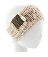 Gingas Galleria Beige Leather & Lace Button Crochet Wide Headband Ear Wa... - $14.50