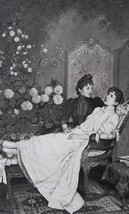YOUNG LADY in Love Consolation Fowers Centerpiece - 1890 Fine Quality Print - $19.80