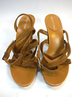 super gorgeous pair of SERGIO ROSSI brown suede strappy tall sandals 8 37.5 image 3