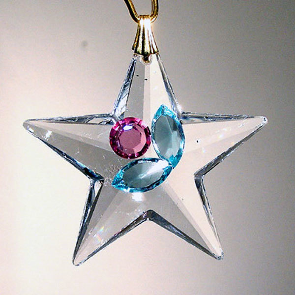 Enhanced 28mm Clear Crystal Star Decoration