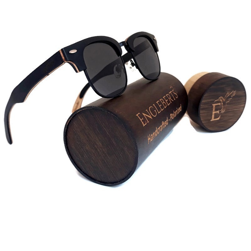 Primary image for Skateboard Multi-Layer Club Sunglasses, Black Polarized Lenses, Bamboo Case