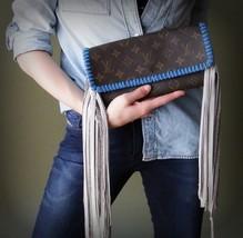 Fringed Authentic Pochette GM Crossbody Bag -Blue and Turquoise Boho Love - $625.00