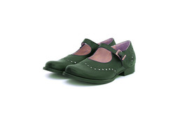 Star-Light Asparagus Green Wide Brogue Mary Jane's Genuine Leather Women Shoes  - $119.99 - $169.99