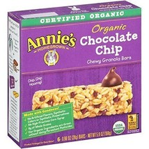 Annie's Organic Chewy Granola Bars, Chocolate Chip, .98 oz, 6 Count, 4 Pack - $29.69
