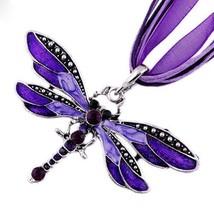 Lady Purple Dragonfly Charms Necklace Chain Rhinestone Inlay Gemstone Pe... - $9.89