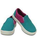 NEW Crocs Girl's Citilane Slip-On Sneakers Turquoise/Pink Little Kid Sz ... - $29.00