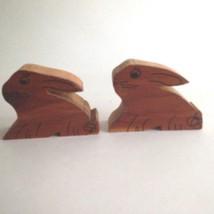 "Vintage Wooden Bunny Rabbit Salt & Pepper Shaker Set 2"" Tall 2.5"" Wide - $6.69"