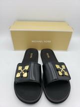 Michael Kors Summer Slide SANDALS/SHOES Nappa Black With Flower [Sz 10, 11] - $49.00