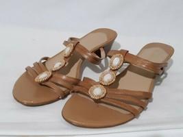Liz Claiborne SZ 9M Tan Leather Slip On Slide Sandals Bethanie Strappy B... - $14.80