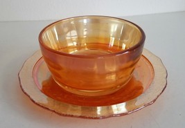 Vintage Marigold Iridescent Carnival Glass Sauce Bowl & Normandie Patter... - $15.00